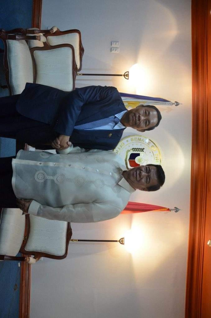 Speaker Thura U Shwe Mann cordially greets Mr Franklin Drilon, President of the Senate of the Philippines.—mna