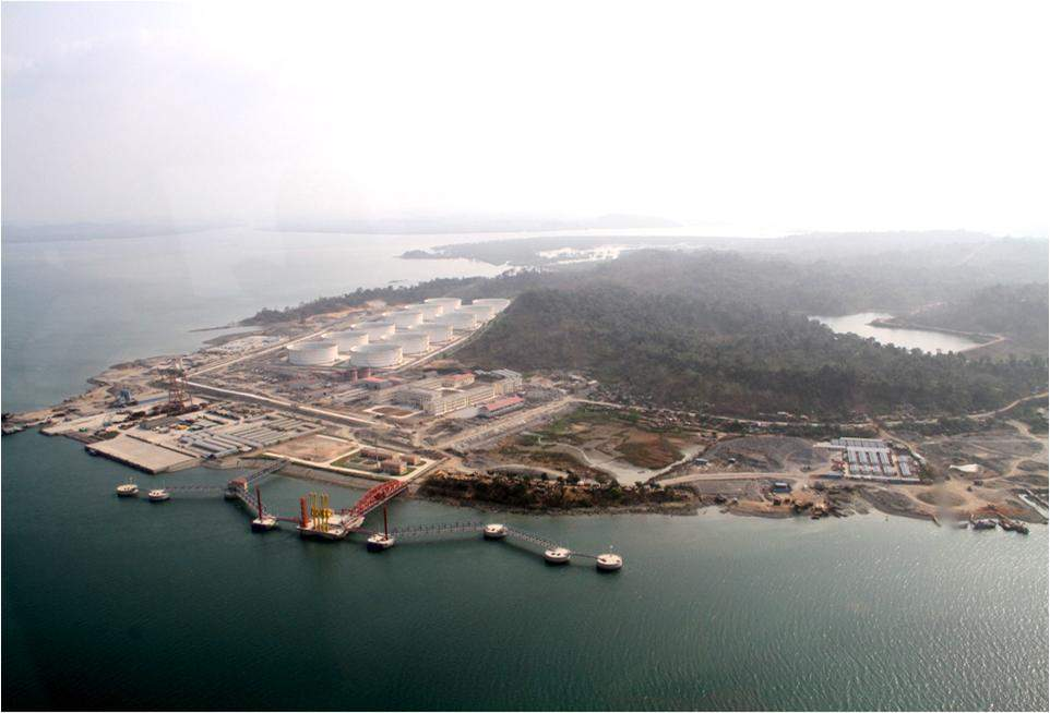 An aerial view of Ma-de Crude Oil Unloading Terminal in Kyaukpyu Township.
