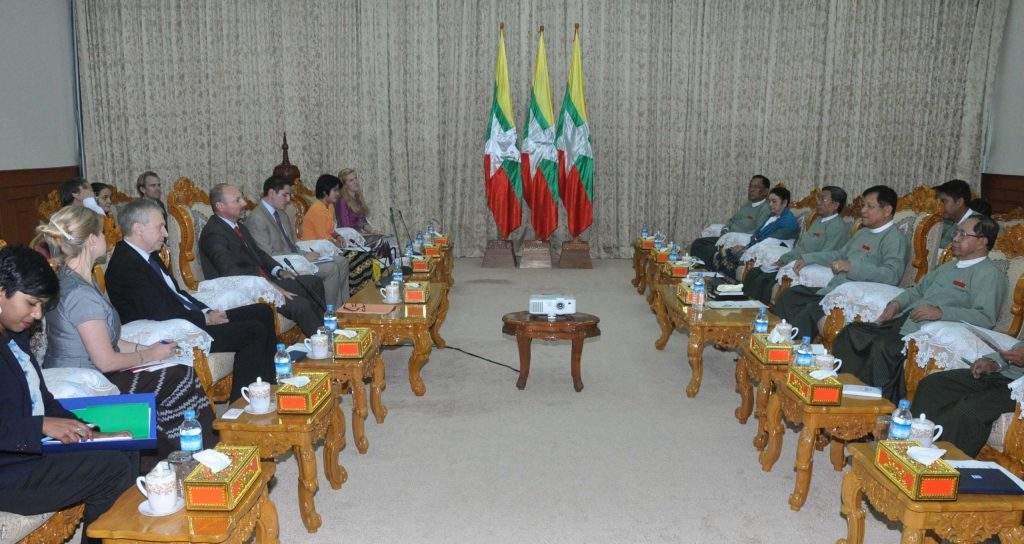 Chairman of Union Election Commission U Tin Aye reecives  EU Ambassador to Myanmar Mr. Roland Kobia and officials of  International IDEA.