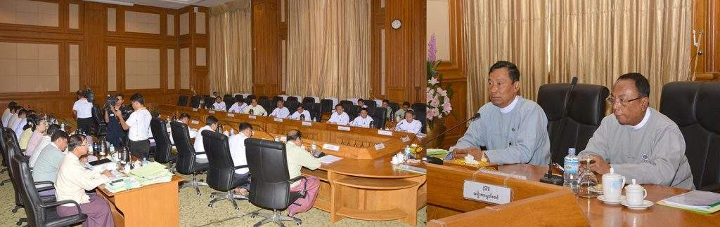 Speaker of Pyidaungsu Hluttaw Thura U Shwe Mann and Speaker of Amyotha Hluttaw U Khin Aung Myint attend coordination meeting of Myanmar Parliamentary Union.—mna