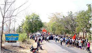 Student protesters continue marching against National Eduation Law in Chauk Township, Magwe region, on January 31
