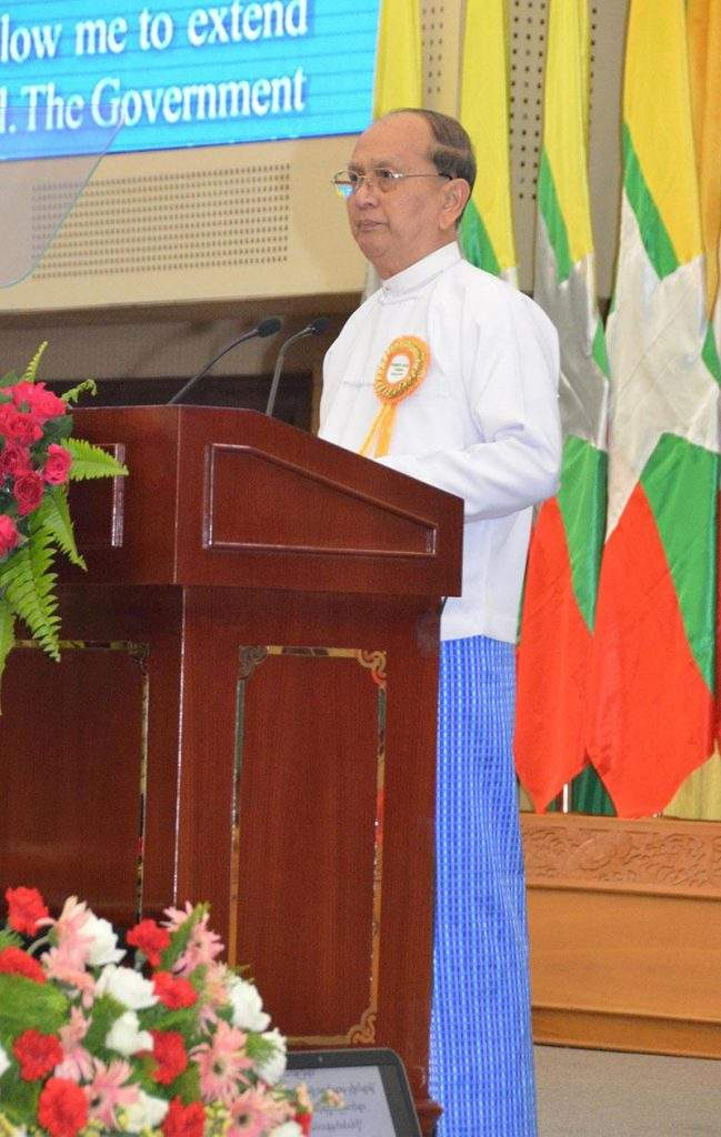 President U Thein Sein delivers speech at 4th Green Economy, Green Growth Forum at MICC-II in  Nay Pyi Taw.—mna