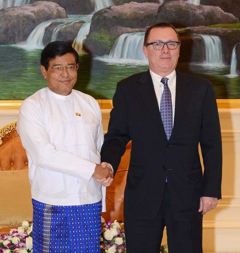 Vice  President  U Nyan Tun greets UN Under-Secretary-General for Political Affairs Mr Jeffrey  Feltman.