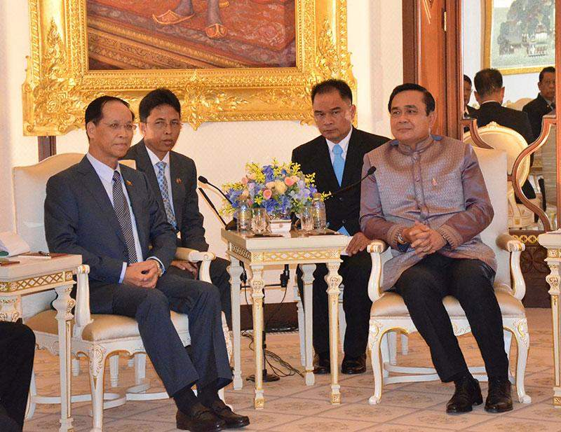 Vice President Dr Sai Mauk Kham holds talks with Thai Prime Minister Prayut Chan-o-cha at the government guest house in Bangkok.