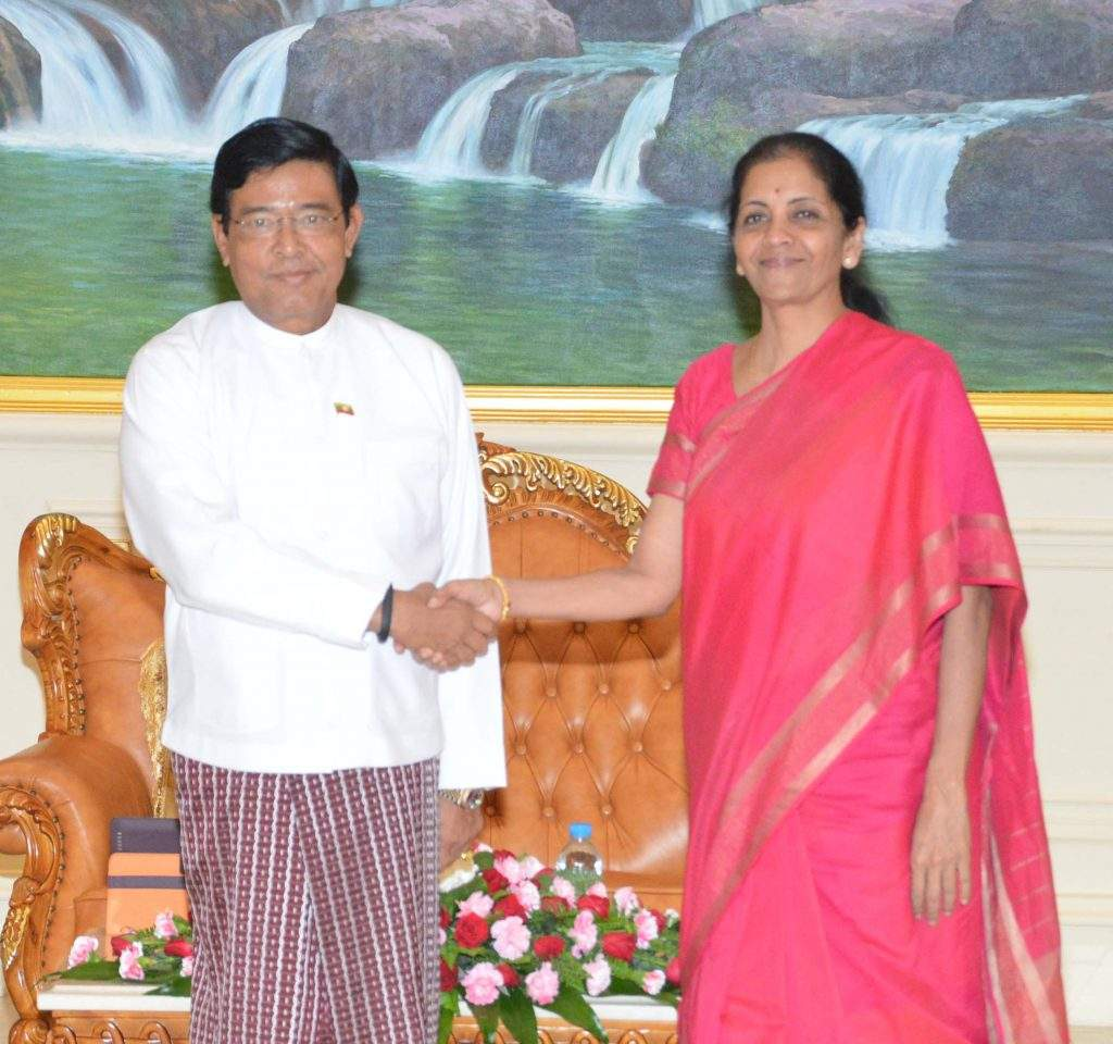 Vice President U Nyan Tun  meets Minister of State for Commerce & Industry Ms Nirmala Sitharaman of India.