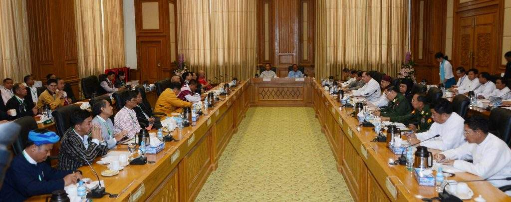 Speaker of Pyidaungsu Hluttaw and Pyithu Hluttaw Thura U Shwe Mann and Amyotha Hluttaw Speaker U Khin Aung Myint meet leaders of armed ethnic groups.