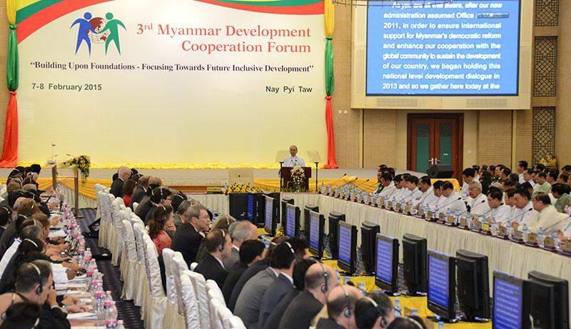 President U Thein Sein delivering speech at lauching ceremony of the Third Myanmar Development Cooperation Forum.