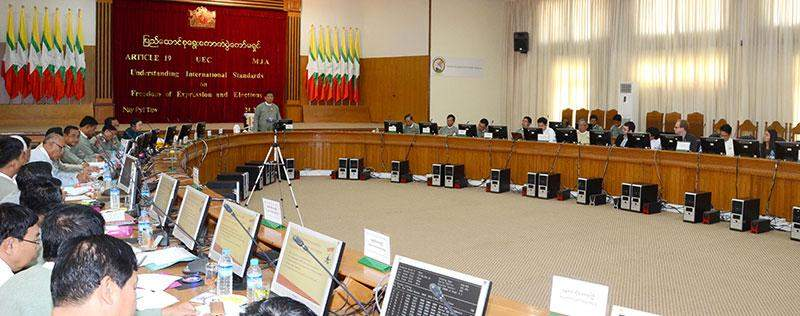 Union Election Commission Chairman U Tin Aye highlights freedom of expression and elections in meeting with media.—mna