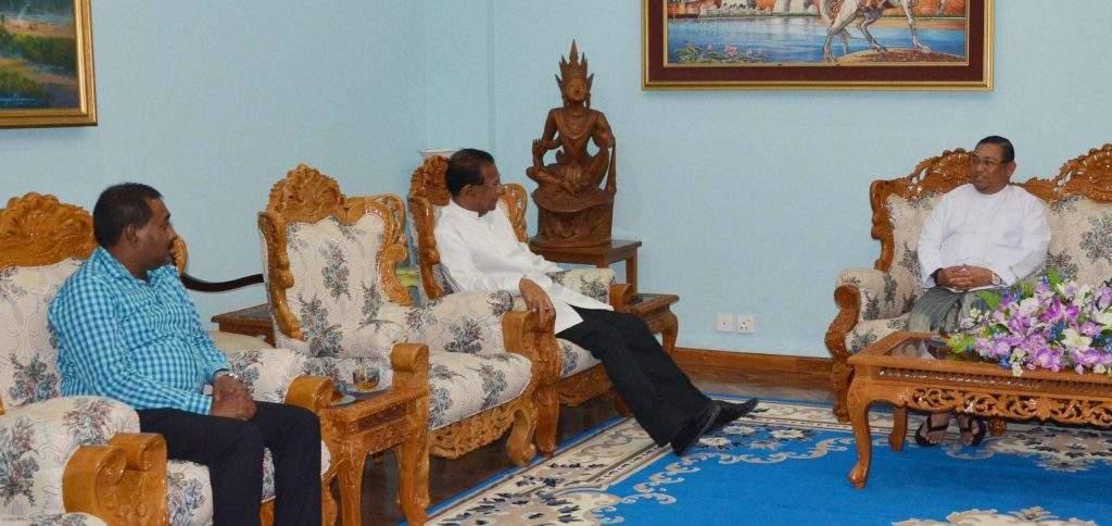 Union Minister for Foreign Affairs  U Wunna Maung Lwin receives Mr. Handunnethi Rannulu Piyasiri, Ambassador of Sri Lanka.