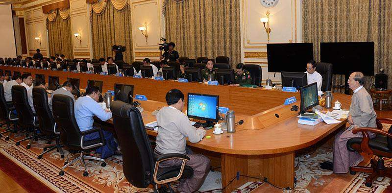 President U Thein Sein chairs the meeting of the Central Committee for Management of  Foreign Aids and Grants.—mna