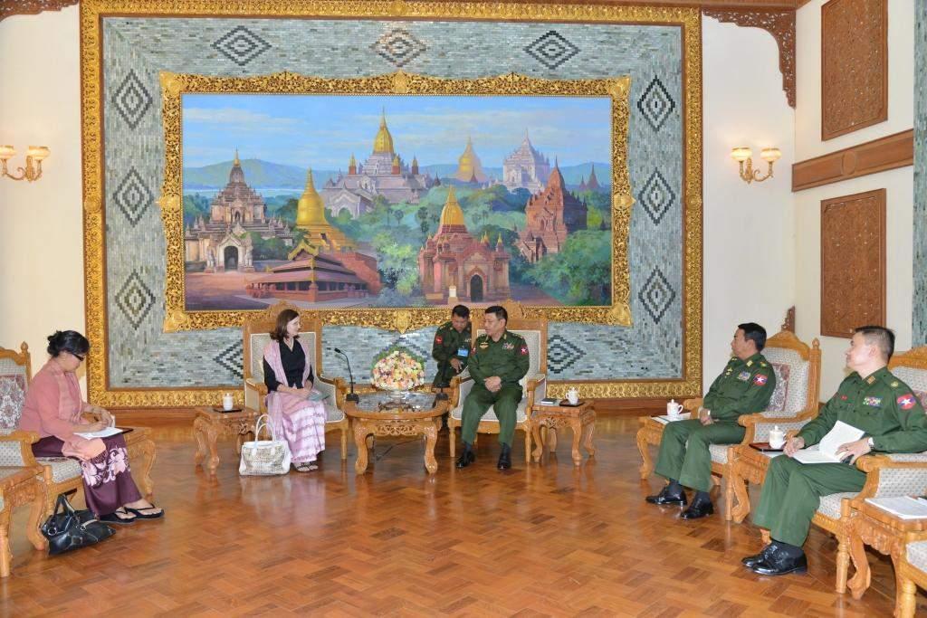 General Hla Htay Win receives UN Resident and Humanitarian Coordinator Ms Renata  Lok-Dessallien.—Myawady