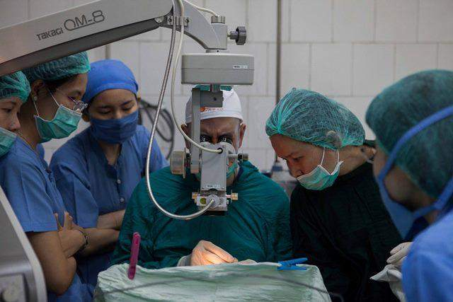 Dr. Shmuel Levartovski (in the Photo) at his sixth time in Myanmar, leading eye operations and training sessions.