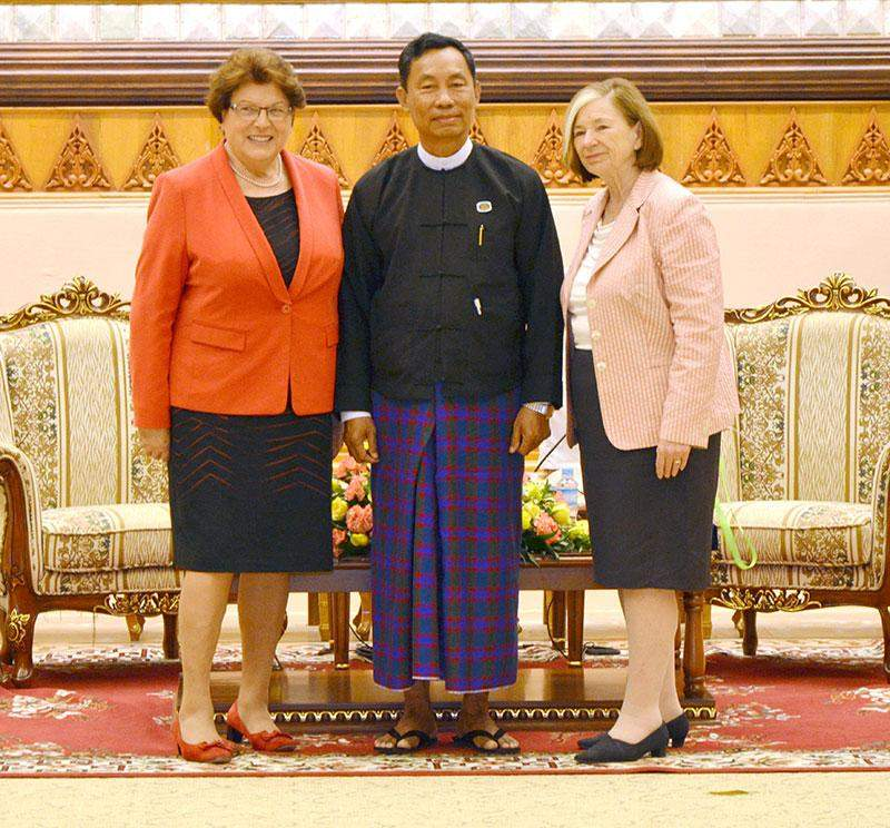 Speaker Thura U Shwe Mann poses for documentary photo with Professor Ursula Mannle, Chairwoman of Hanns Seidel Foundation of Germany  and party