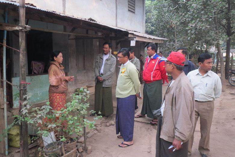 Myawady District's deputy commissioner U Lwin Ko Oo and officials inspect sanitation and fire preventive measures at staff quarters in Myawady.
