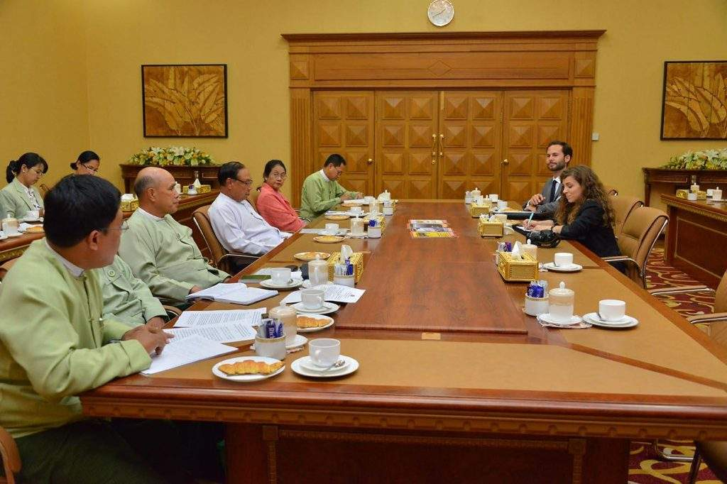 Union Minister U Win Tun meets Ms Maria Torres and Mr Nicolas Yllera from Germany-based PRISMA Group.—mna