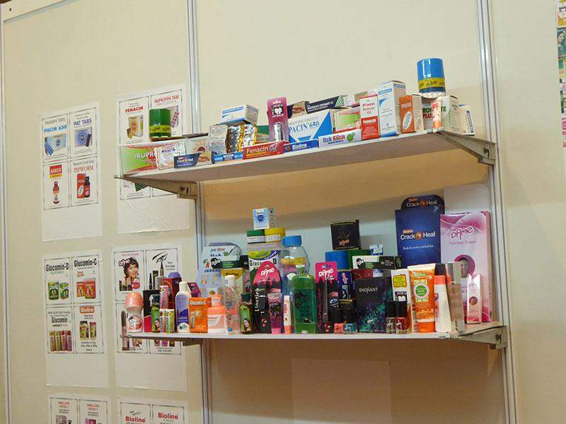 Products from Indian pharmaceutical industry are being displayed at the 3rd India Pharma and Healthcare Expo in Yangon. Photo: Khaing Thanda Lwin