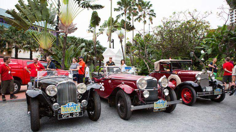 Classic cars getting ready to leave for Mandalay. Photo: Raffles Hotel Singapore