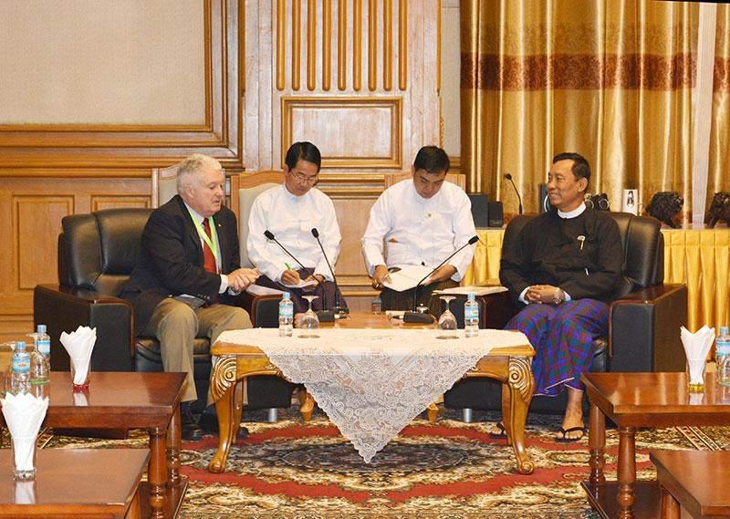 Speaker Thura U Shwe Mann holds talks with Dr Michael Mann,  Chancellor of Torrens University Australia.—mna