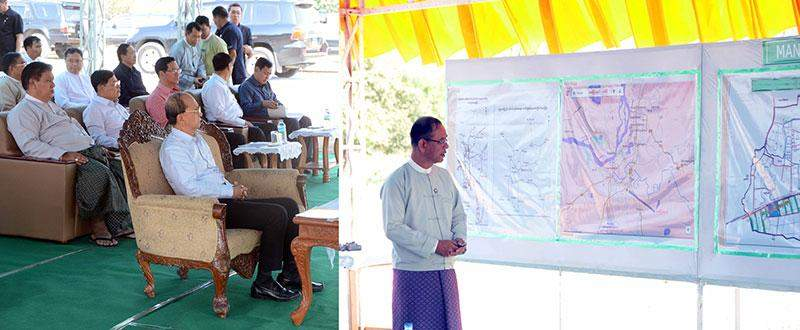 President U Thein Sein hears reports presented by Mandalay Region Chief Minister U Ye Myint on wholesale market to be established  in Singaing Township, Mandalay Region