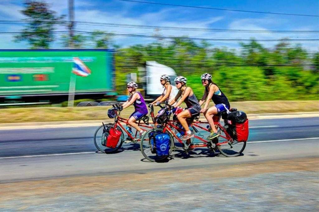 Four women of R4WR (Ride 4 Women's Rights) foundation from the Netherlands on bike during their journey in Thailand before entering Myanmar. —Photo: R4WR