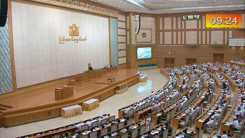 Pyidaungsu Hluttaw MPs debates budgets for ministries.—MNA