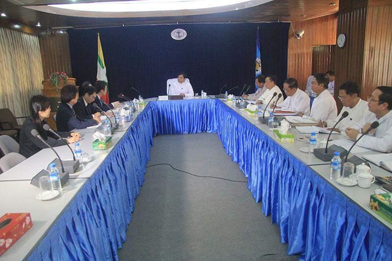Union Minister U Nyan Tun Aung meets Japanese Ambassador  Mr Tateshi Higuchi.—MNA