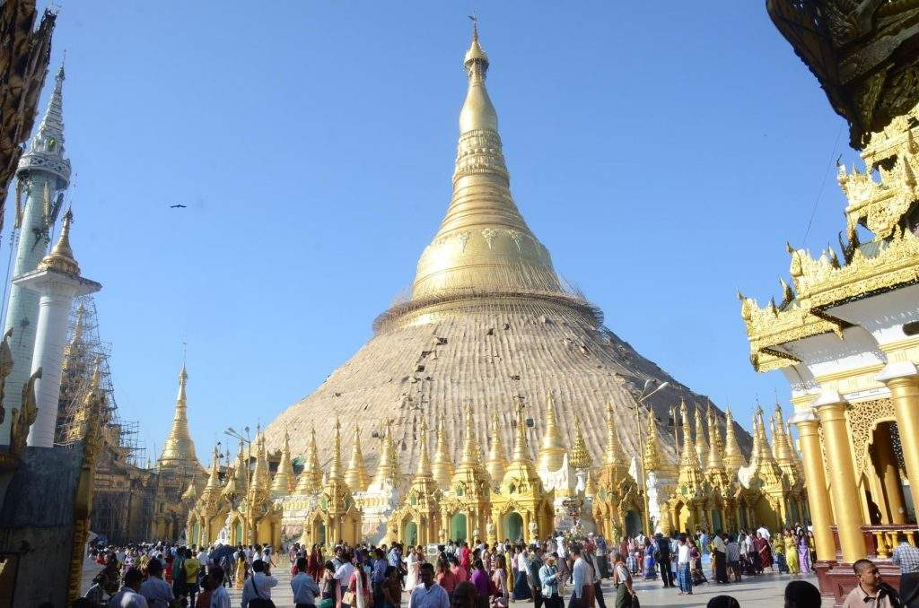 Pilgrims and local people visit Shwedagon Pagoda on Fullmoon Day of Taboung in Yangon.