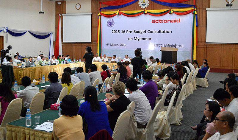 Stakeholders take part in a pre-budget consultation workshop in  Yangon on Friday.