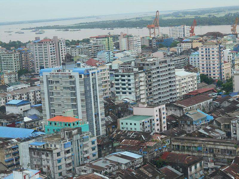 An aerial view of Yangon City with high-rise buildings.—Photo: Khaing Thanda Lwin