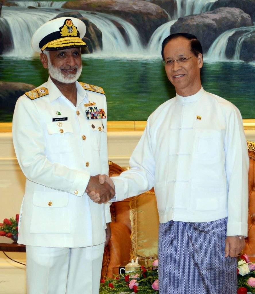 Vice President Dr Sai Mauk Kham greets Admiral Muhammad Zakaullah  NI (M), Chief of Naval Staff of Pakistan. MNA