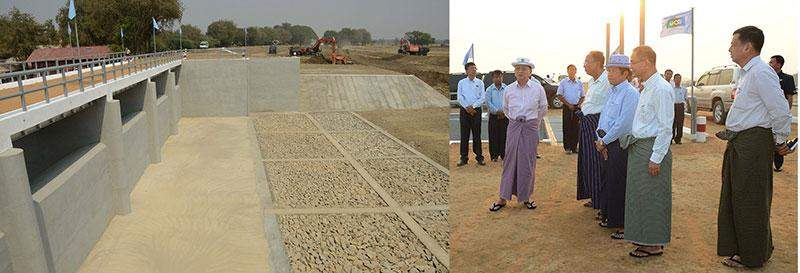 President U Thein Sein views progress in construction of irrigation facilities at Kyee Ni Lake with the use of heavy machinery in Yamethin Township.—MNA