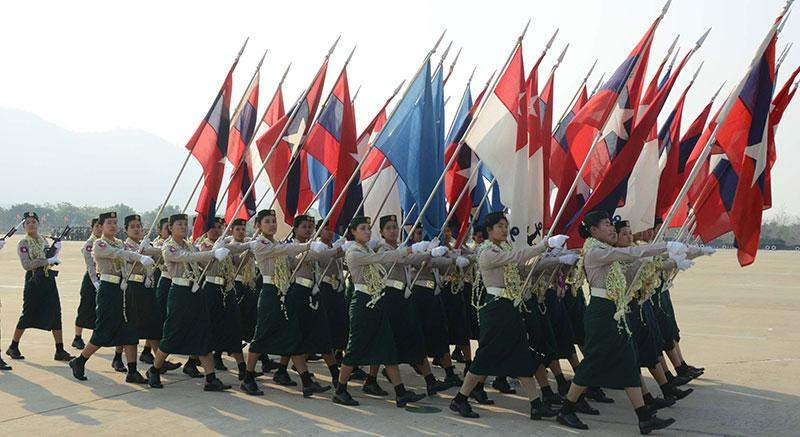 Military servicewomen marching in parade ground in Nay Pyi Taw.