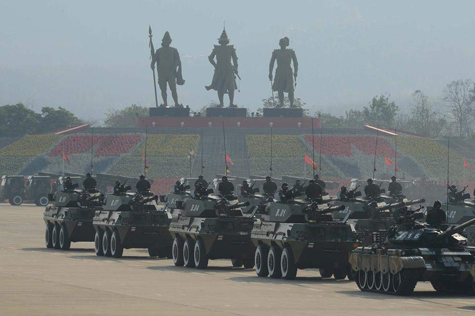 Armoured vehicles rolling into the  parade ground where 70th Anniversary of Armed Forces Day parade 2015 is being held on 27 March 2015.