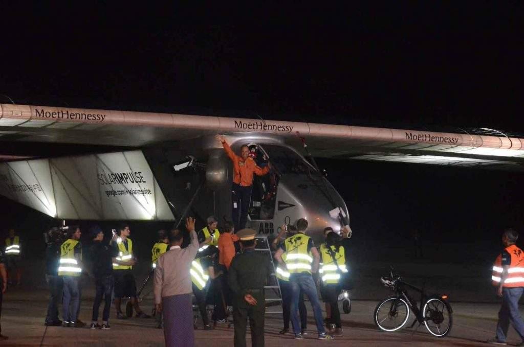 Local authorities see off Solar Impulse-2 at Mandalay International Airport.—MNA