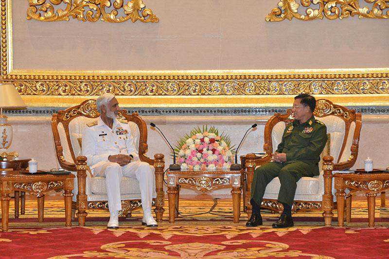 Senior General Min Aung Hlaing holds talks with Admiral Muhammad Zakaullah NI(M), Chief of Naval Staff of Pakistan.