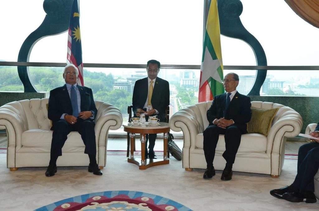 President U Thein Sein holds talks with  Prime Minister of Malaysia Mr Najib Razak.