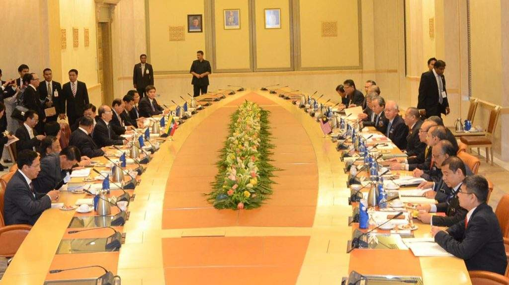 Myanmar delegation led by President U Thein Sein holds talks with Malaysian delegation led by Malaysian Prime Minister Mr Najib Razak.
