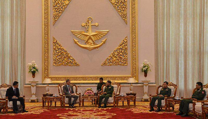 Senior General Min Aung Hlaing receives  Mr Bruce Rata Shepherd, ambassador of New Zealand to Myanmar