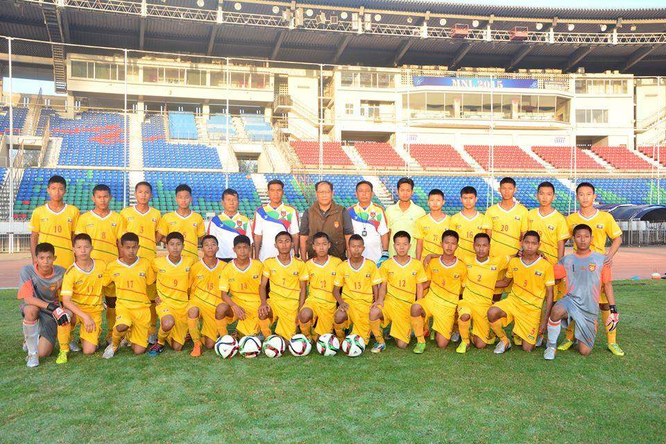 Players of Myanmar U-15 team that will take part in China-ASEAN youth football tournament pose for group photo.