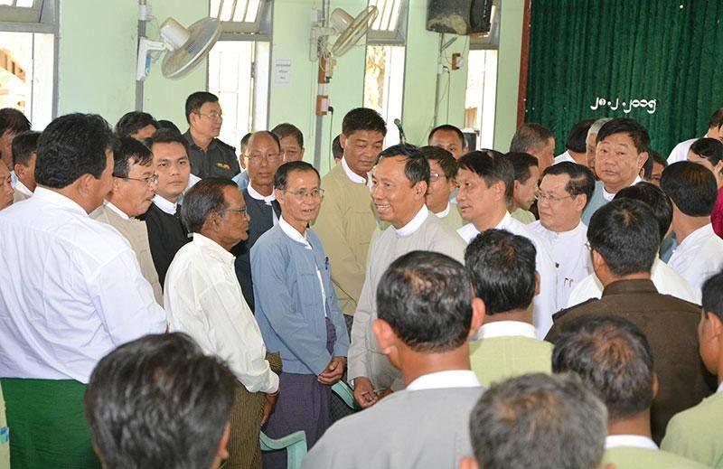 Speaker Thura U Shwe Mann meets local people in Kyaukdaga Township.—mna