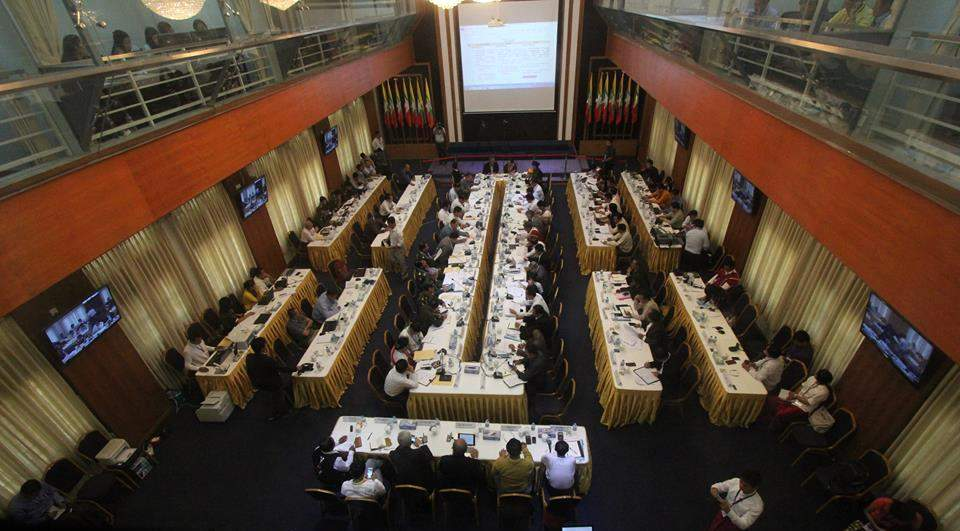 Union Peacemaking Work Committee (UPWC) and Nationwide Ceasefire Coordination Team (NCCT) hold fourth day meeting of the seventh round of nationwide ceasefire accord talks in Yangon on Friday.