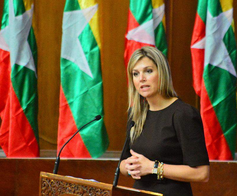 Queen Máxima of the Netherlands gives a key note speech at Convocation Hall of Yangon University.
