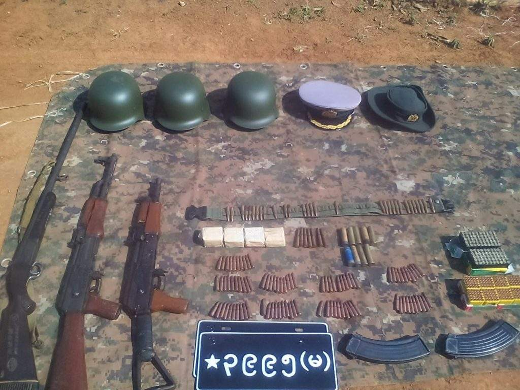Arms and ammunitions, and military equipment seized in clashes between Tatmadaw and Kokang insurgents.—Myawady