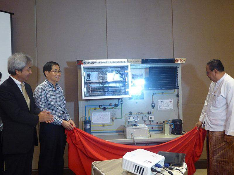 Mitsubishi Electric donates refrigeration kit to Myanmar Engineering  Society at signing ceremony.—Photo: Khaing Thanda Lwin