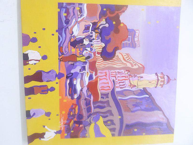 An art work depicts view of Yangon City.