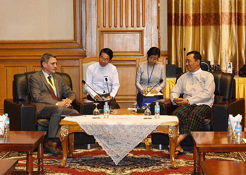 Speaker Thura U Shwe Mann holds talks with Ambassador of New Zealand Mr Bruce Rata Shepherd.