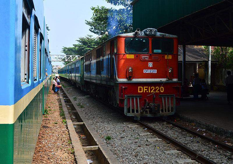 More than 100,000 people (about three per cent of more than six million population of Yangon) rely on the circular trains for their daily  transportation needs.—Photo Aye Min Soe