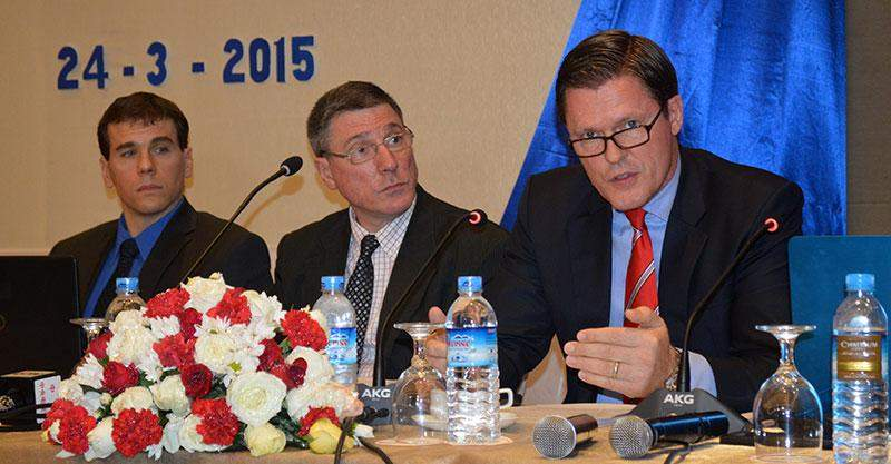 """Winfried F. Wicklein, Asian Development Bank's country director for Myanmar, speaks at the press conference on Asian Development Outlook 2015: """"Financing Asia's future growth and implications for Myanmar"""" in Yangon on Tuesday.—Photo: Ye Myint"""
