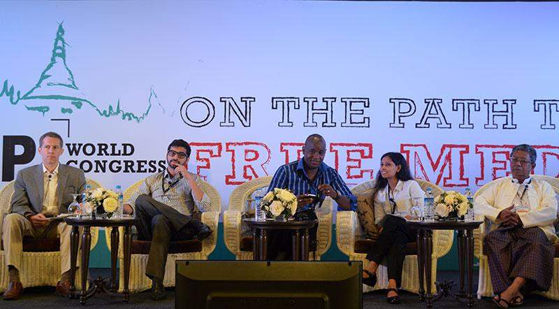 Panel members discuss hate speech at the IPI 2015 World Congress, with speakers encouraging  members of the media to promote alternative narratives to combat harmful messages.