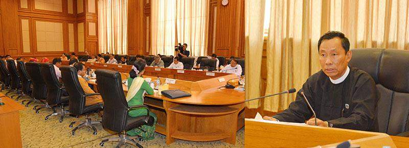 Speaker of Pyithu Hluttaw Thura U Shwe Mann holds talks with officials of political parties from Hluttaw. MNA